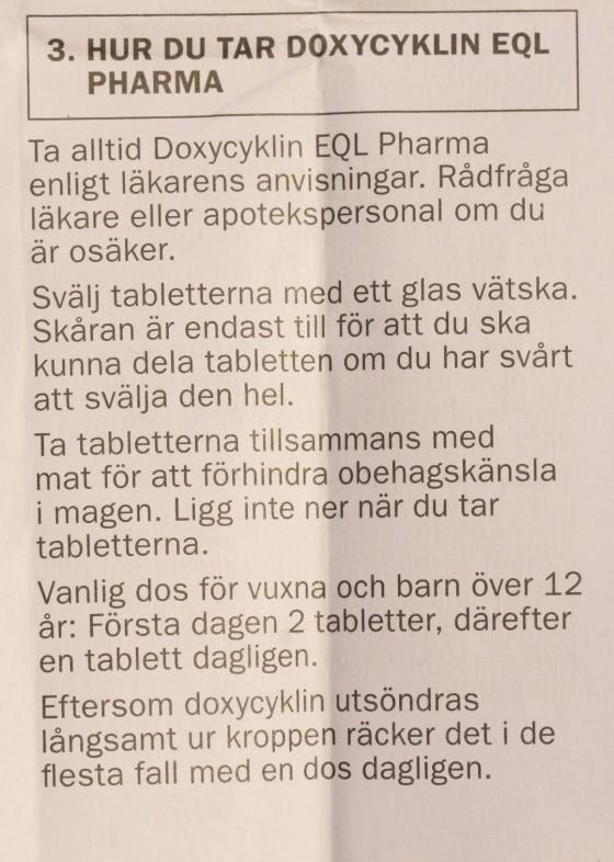 hur du tar doxycyklin